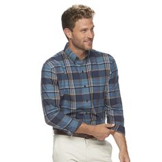 Men's Arrow Classic-Fit Madras-Plaid Button-Down Shirt, Size: Small, Blue Other