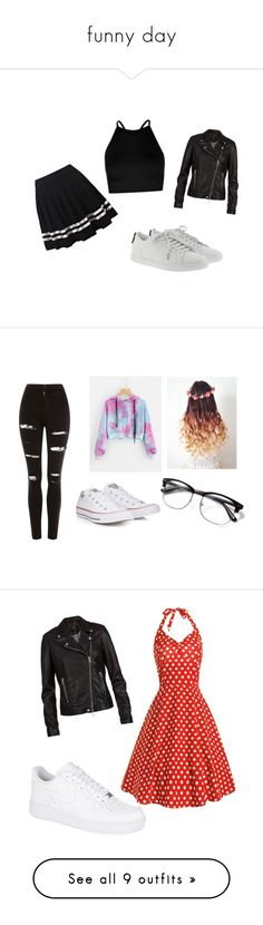 """funny day"" by disabella730 on Polyvore featuring moda, Boohoo, SET, Yves Saint Laurent, Topshop, Converse, NIKE, outerwear, jackets y tops"