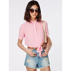 Pink Short Sleeve Bow Blouse ($17) ❤ liked on Polyvore featuring tops, blouses, short sleeve tops, pink top, pink blouse, bow top and short sleeve blouse