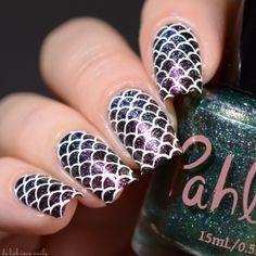Mermaid Nail Art Stamping Design Mermaid Nail Art, Bright Red Nails, Nail Hardener, Red Nail Polish, Types Of Nails, Us Nails, Nail Art Galleries, Beauty Nails, You Nailed It