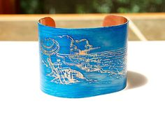 """Pin it if you love it! Etched Copper Cuff Bangle Bracelet with a Beach Ocean Seashore theme. 2""""  wide turquoise Caribbean blue Joann Hayssen SRA  $40.00    20% of the purchase price will be donated to Rosemary Farm horse rescue and sanctuary! https://www.etsy.com/listing/193309175/etched-copper-cuff-bracelet-beach-ocean?ref=shop_home_active_1"""