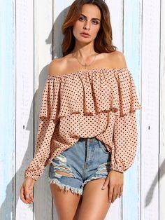 Shop Pink Polka Dot Ruffle Off The Shoulder Blouse online. SheIn offers Pink Polka Dot Ruffle Off The Shoulder Blouse & more to fit your fashionable needs. Shoulder Shirts, Off Shoulder Blouse, Off The Shoulder, Polka Dot Blouse, Pink Polka Dots, Boho Outfits, Fashion Outfits, Womens Fashion, Shirts & Tops