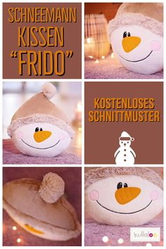 """""""FRIDO"""" ist ein zuckersüßer Weihnachtskissen Schneemann zum selber Nähen. Das Schnittmuster ist für NewsletterabonnentInnen kostenlos. Schau vorbei und hol dir das Schneemann Freebook!"""