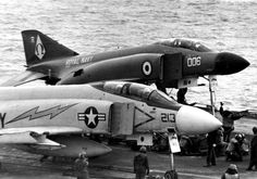 McDonnell Douglas FG.1 Phantom on USS Kittyhawks Cat4. The lightening bolt on the aircraft is for VA-144 based at NAS Lemoore, CA. This was my Dad's Squadron when he was on the Kittyhawk!  gr