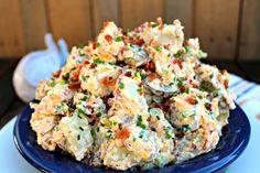 Loaded Bacon Cheddar Baked Potato Salad - The Complete Savorist Salad Bar, Soup And Salad, Cheddar, Bacon Ranch Potato Salad, Four, Fried Rice, Baked Potato, Side Dishes, Good Food