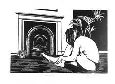 Nude #4, nude, woman, fireplace, linocut, print, hand-pulled, black & white, Ellen Von Wiegand #interiordeco #interiordesign #art #artforsale
