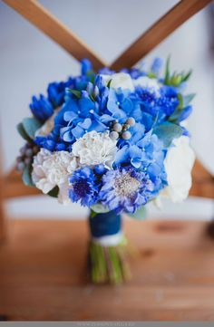 Blue Hydrangea (Hortensia), Blue Scabiosa Flowers, Additional Blue Florals, White Roses, White Carnations & Greenery/Foliage