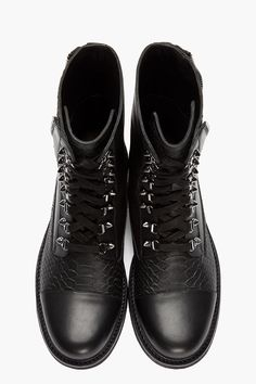 PIERRE BALMAIN Black Leather Snakeskin Zippered Combat Boots