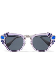 c40b6eb14d5b Miu Miu - Crystal-embellished cat-eye acetate sunglasses