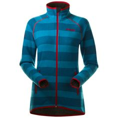 Bergans Perikum Lady Jacket - Sea Blue Striped/Red - S Red S, Blue Stripes, Motorcycle Jacket, Jackets For Women, Urban, Lady, How To Wear, Norway, Clothes