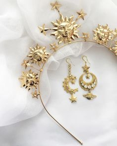 The Nikki Witt Soleil Headpiece matched with two of the Eclipse Earrings. Pick And Mix, Bespoke Jewellery, Headpiece, Swarovski Crystals, Earrings, Accessories, Jewelry, Instagram, Ear Rings