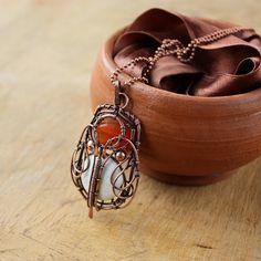 #Statement #necklace #stone #orange #wirewrapped #jewelry #gift #white by #wirefoxjewellery