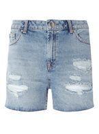 Womens Blue Mid Wash Ripped Denim Shorts- Blue