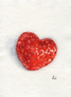 Heart shaped strawberry Miniature Painting por ForestSpiritArt
