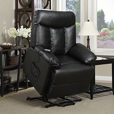 ProLounger Lya Black Renu Leather Power Recline and Lift Wall Hugger Chair with Remote Control 300lbs Weight Capacity -- You can get more details by clicking on the image. (Amazon affiliate link)