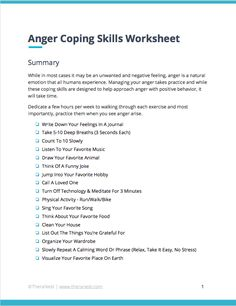 Coping Skills Worksheets & Techniques for Anger Management Anger Coping Skills, Coping Skills Worksheets, Anger Management Worksheets, Therapy Worksheets, Therapy Activities, Therapy Ideas, Therapy Tools, Mental Health Counseling, Counseling Psychology