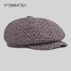 Winter Newsboy Beret Hat Men Cap Flat Autumn Winter Hats Cotton Plaid  Newsboy Octagonal Hat Women 0d87c92ebae4