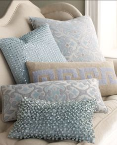 almofadas azuis