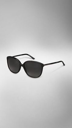 Burberry - LEATHER WRAPPED CAT EYE SUNGLASSES