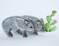 Wooden Noahs Ark Animals Toy Javelina, Collared Peccary