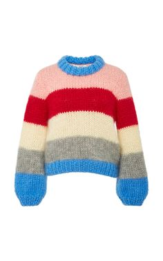 The Julliard Striped Mohair and Wool-Blend Sweater by GANNI Now Available on Moda Operandi