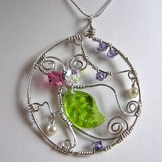 Sterling Silver Pendant Necklace-handmade, sterling, silver, swarovski, pearl, wire, wrap, glass, pink, purple, green