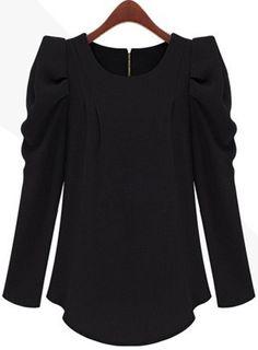 Black Long Sleeve Alice Shoulder Zipper Blouse