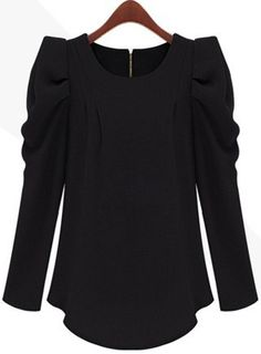 Black Long Sleeve Alice Shoulder Zipper Blouse - $49. Love this so much!!!!