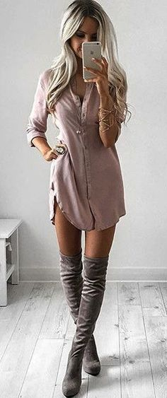 Shirt Dress with Grey Knee high boots