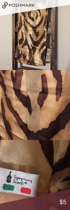 "Made in Italy Printed Scarf Brown Tan Approx 55"" long. Good, clean condition. No tears, rips or stains. Comes from smoke free home. Symphony Scarfs  Accessories Scarves & Wraps"