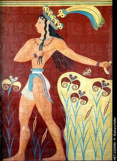 Artists of ancient Crete! -   Priest-King Fresco, c. 1,550-1,450 BCE, Knossos, Crete (Minoan)