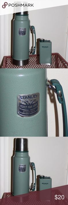 """Stanley 20 oz Flask. Stanley Adventure SS Hammertone Flask: A rubber gasket prevents leaking and the super sturdy stainless steel is rust proof. Convenient fully packable size Leak proof Wide mouth for easy filling and pouring18/8 stainless steel won't rust; naturally BPA freeIntegrated lanyard; never lose your capSize: L 1.25"""" x W 3"""" x H 6.5""""Weight: 1.54 lb  Vacuum insulation keeps drinks hot 28 hours, cold 28 hours, or iced 150 hours 18/8 stainless steel won't rust; naturally BPA-free…"""