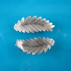 Leaves French Barrette Set of Two 50mm Sterling Silver Ox, Copper Ox, Brass Ox Finishes - very greek looking, 2 for $24