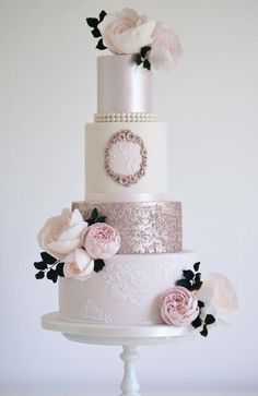 Featured Wedding Cake: Cotton & Crumbs; pink wedding cake idea