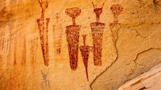 in from left has the almond shaped eyes! Carrot Man, Art Ancien, Ancient Mysteries, Photography Gallery, Aboriginal Art, Native American Art, Ancient Art, Rock Art, Archaeology