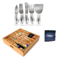 Amazon.com: Cheese Knives Set 5-Piece Stainless Steel tools with Microfiber Cleaning Cloth in a Housewarming Gift Box, Exquisitely Designed to Hold, Cut, Shave, Slice, Spread, Serve All Types Of Cheeses: Kitchen & Dining