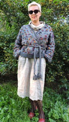 Купить БОХО стиль кофта жакет с поясом. - серый, вязанный свитер, купить вязаный кардиган