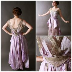 c.1917 Silk Taffeta and Silver Lace Tea Gown