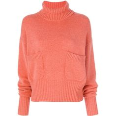 Chloé ruched sleeve sweater ($1,395) ❤ liked on Polyvore featuring tops, sweaters, pink, pink sweater, ruched long sleeve top, long sweaters, rollneck sweaters and orange sweater