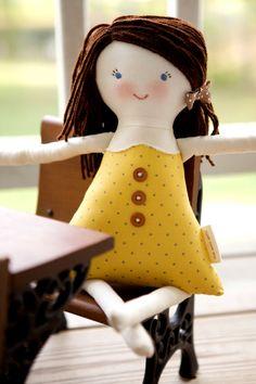 Handmade Rag Doll, Waldorf Cloth Doll, Eco-friendly Fabric Doll, Personalize, Josephine by thebuslbarn on Etsy