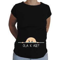 Camiseta para embarazada Divertida - Bebe chico cotilla.