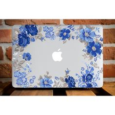 Blue Flower Frame MacBook Air 13 MacBook Pro 13 Case MacBook 12 Cover... ($50) ❤ liked on Polyvore featuring accessories and tech accessories