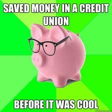 Hipster pig knows credit unions are the way to go. Join a credit union! #PeopleHelpingPeople