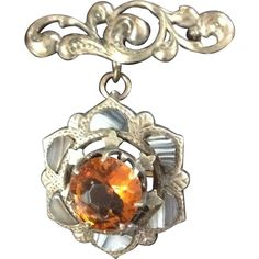 Super Victorian Scottish Agate, Citrine & Sterling Brooch