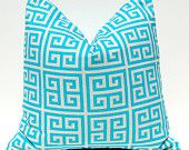 Decorative Throw Pillow Covers Turquoise on Natural Greek Key 18 x 18 Inches Accent Pillows Cushion Covers