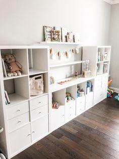 Loft Playroom, Ikea Playroom, Toddler Playroom, Playroom Design, Toddler Rooms, Living Room Playroom, Pottery Barn Playroom, Organized Playroom, Playroom Ideas