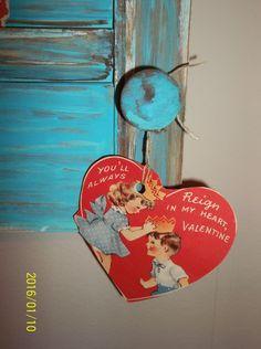 vintage valentines on a old shutter