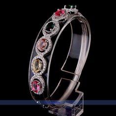 Natural Real Multicolor Tourmaline Sterling Silver Bangle Bracelet   eBay $40