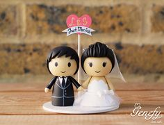 Cute Just Married bride and groom wedding cake topper by Genefy Playground  https://www.facebook.com/genefyplayground