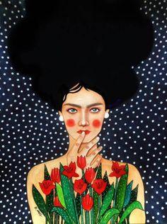 Observed Canvas Art Print by Hülya Özdemir Art Inspo, Kunst Inspo, Art And Illustration, Illustrations, Art Visage, Urbane Kunst, Plakat Design, Guache, Portrait Art